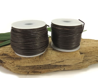 Brown Leather Cord, 1mm Leather Cord, 25 Yards Colored Leather Cord, Leather Necklace Cord, Item 645c
