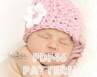 Chunky cluster hat crochet pattern - newborn to 12 months sizes - PDF46 digital download