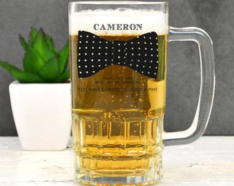 Personalised Bow Tie Beer Mug - Groomsmen Best Man Usher Wedding Gift