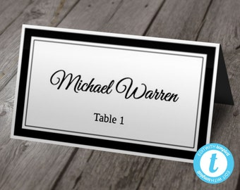 Printable Wedding Place Card Template | Calligraphy w/ Double Border | Instant DOWNLOAD | You EDIT TEXT | Folding Tent Style
