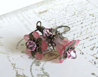 Blush Pink Lucite Flower Earrings, Vintage Style Earrings with Swarovski Crystals