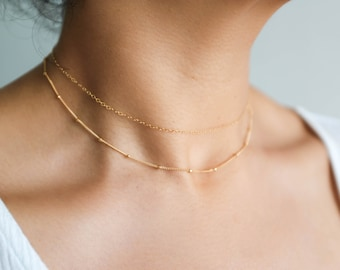 Gold Choker Set / Satellite Choker / Dainty Choker Necklace / 14k Gold Filled Beaded Necklace / Layering Necklace / Delicate Necklace Set