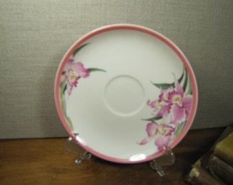 Keito Saucer - Pink Rim - Pink Irises