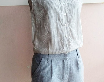 90s Cotton Playsuit Shorts Romper - Onesie - Summer Gray Overalls -Small - Two Pockets