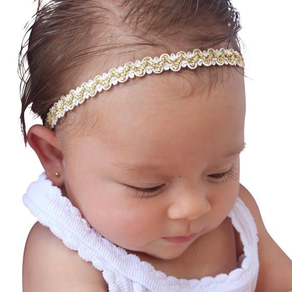 Gold Baby Headband, Baptism Headband, Baby Headpiece, Baby Headband, Infant Headband, Headband for babies, Gold Headband