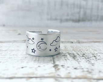 Moon and stars silver ring, starry night ring, moon ring, star ring, adjustable cuff ring