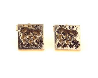 Vintage Solid Sterling Silver Intaglio Cufflinks