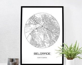 Belgrade Map Print - City Map Art of Belgrade Serbia Poster - Coordinates Wall Art Gift - Travel Map - Office Home Decor