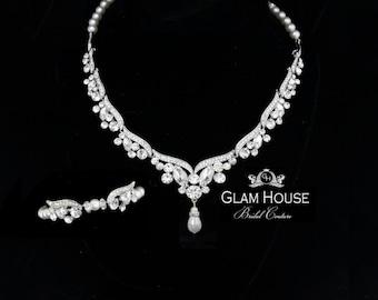 Pearl Bridal Necklace, bridal jewelry  set,statement necklace,pearl bridal bracelet, wedding accessories,vintage weddings,necklace set