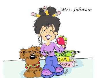 Teacher and her doggie with apple and books personalzied note cards