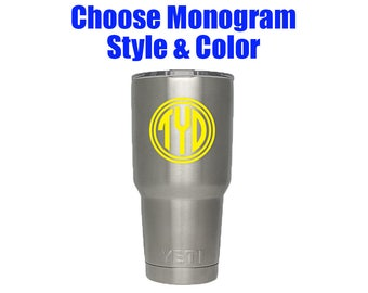 Monogram Decal - Monogram Tumbler Decal - Monogram Sticker - Monogram Laptop Decal - Custom Cup Decal - Monogram Sticker for Cups