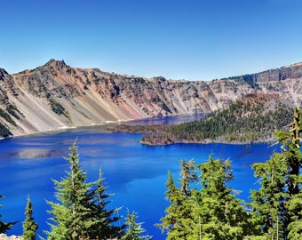Blue Lake photo, HDR photograph, Blue, green, tan, and brown, fine photography prints, The Slopes of Crater Lake