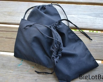 10 x 12 Inches Cotton Double Drawstring Muslin Bags. Black Drawstring Bags. Premium Quality Eco-Friendly Bags