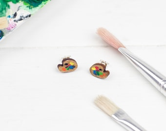 Tiny Paint Palette Earrings, Hand Painted Wooden Jewellery, Laser Cut Studs