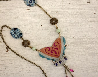Floral necklace made with vintage tea box, long necklace with butterfly pendant, vintage tin necklace, boho necklace, gift for her