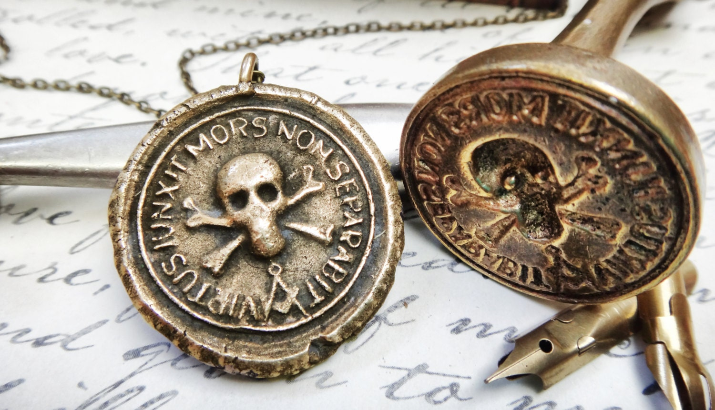 Skull and crossbones wax seal pendant whom virtue has zoom aloadofball Gallery