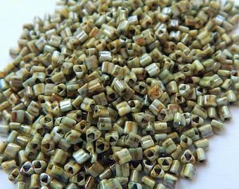 TOHO 11/o Triangle 20 grams Hybrid Opaque Green Luster Seed Beads