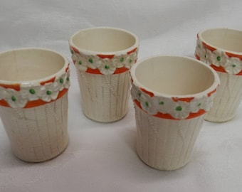 1930's Made in Japan Hand Painted Majolica Juice Glasses / Set of 4