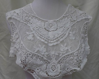 vintage lace collar off white embroidery lace collar applique one piece