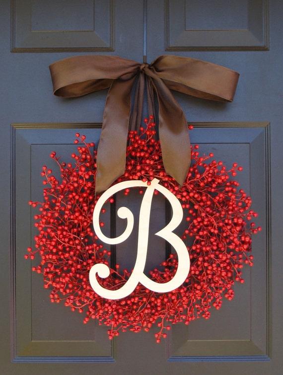 Valentine's Day Wreath- Berry Wreaths- Monogram Red Christmas Wreath- Valentine's Day Wreath- Valentine's Decor- Monogram Wreath