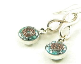 Orgone Energy Infinity Dangle Earrings with Turquoise Gemstone - Drop Earrings - Gemstone Earrings - Orgone Energy Jewelry - Artisan Jewelry