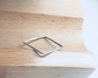 Square stacking ring, geometric square ring, bar ring, cube ring, minimalist ring, dainty stacking ring, square shape band, square thin ring