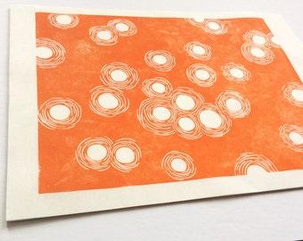 linocut - DUST DANCE // 8x10 // printmaking // block print // orange // original art // contemporary // 9x12 // nature art