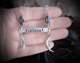 La Luna Necklace, Moon Necklace, Rainbow Moonstone, Labradorite Moon, Witch Necklace, Moon Child