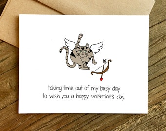 Funny Valentine's Day Card - Single's Awareness Day - Valentine Card - Valentine for Friend - Cat Valentine.