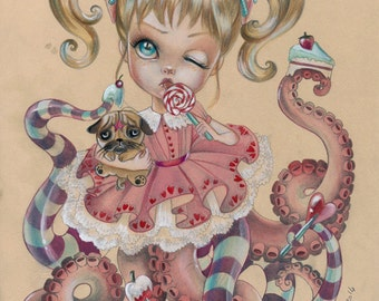 Octobrat Lola LIMITED EDITION print signed numbered Simona Candini lowbrow pop surreal  big eyes octopus doll girl pink candies