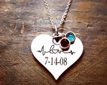 EKG Love Necklace, EKG Heart Necklace, Anniversary Gift, Nurse Gift, Love Necklace, Heartbeat Necklace, Gift for Her, Engraved Necklace