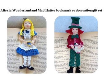 Alice in Wonderland, Mad Hatter bookmarks, decorations gift set, readers gift set, book lover gift set, Christmas gift set, shadow box art