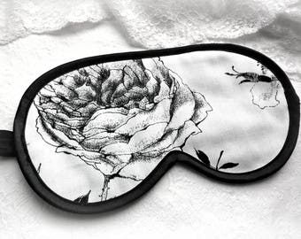 Eco-friendly sleeping mask, Organic cotton Sleep mask with black flower on white,Organic Eye mask, Birthday gift for her, Bachelorette party