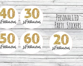 50 & Fabulous Birthday Party Favor Tags, Thanks for Coming, Gold Number, Glitter Gold, Stickers, Gold, Envelope Seals, You Choose Size