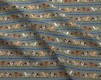 Gypsy Vanner Horse Fabric - Gypsy Vanner Horse Stripe By Eclectic House - Gypsy Vanner Horse Cotton Fabric By The Yard With Spoonflower