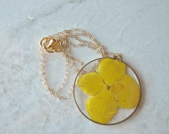 Gold Pressed Hydrangea Necklace Pressed Flower Jewelry Botanical 14k Gold Fill Chain