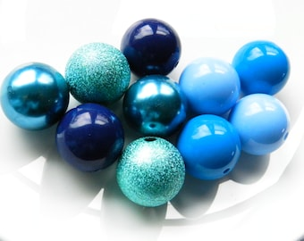 10 Blue Bubblegum Beads Round 20mm Chunky Beads For Jewelry Making DIY Beads Craft Supplies Wholesale Beads