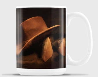 Boots and Hat at end of the day, Cowboys end of day mug