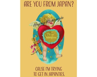 I want in Japanties! -Vintage Valentine's Day postcard with slogan, printable, instant download