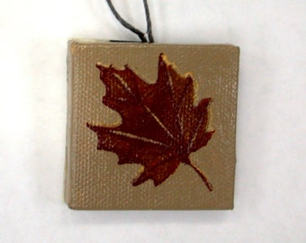 Red Maple Leaf, Miniature Original Painting, Fall Foliage, Bottle Decor, Red Fall Foliage, Red Bottle Decor