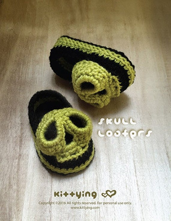 Halloween Crochet Muster-Schädel-Baby-Loafers Häkelanleitung