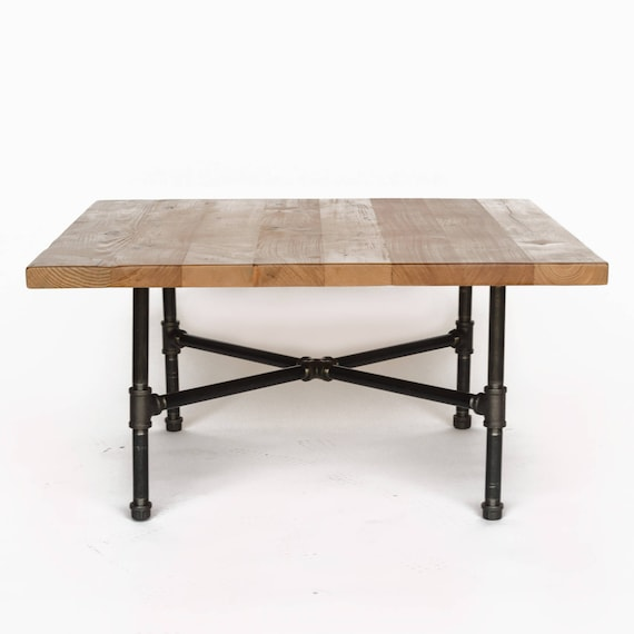 Make A Reclaimed Wood Coffee Table: Wood Coffee Table With Steel Pipe Legs Made Of Reclaimed Wood