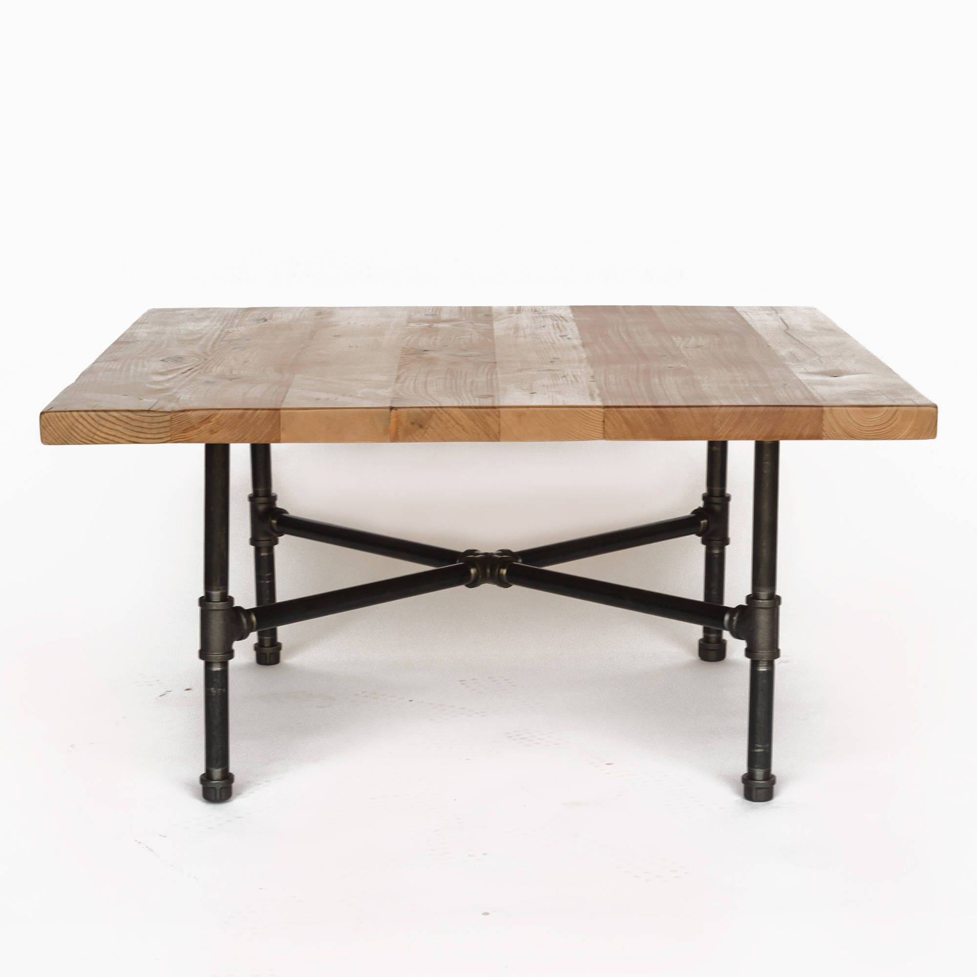 Coffee Table 3 Layers Black Square Metal Legs: Wood Coffee Table With Steel Pipe Legs Made Of Reclaimed Wood