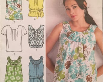 Simplicity Blouse Patterns 6 Styles with Neck, Sleeve, and Waist Variations, Ruched or Pleated Front, w Belt Size 6-8-10-12-14 Pattern 2892