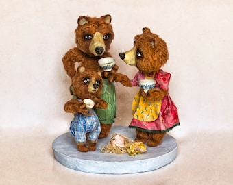 "Papier mâché sculpture, ""You Bowl, little bear"""
