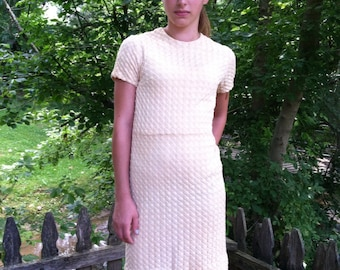 Vintage 60s Anne Colby Knit Textured Champagne Wiggle Dress