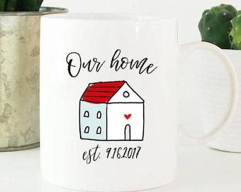 Our home est., homeowner mug, housewarming gift, homeowner gift, wedding mug, personalized wedding gift, wedding date mug, first home gift