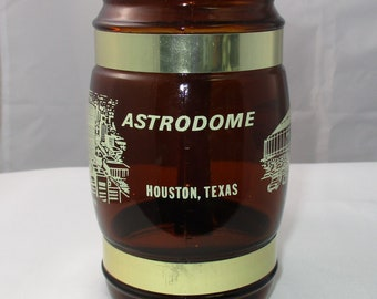 Vintage Siesta Ware Houston Astros Astrodome Brown Glass Mug with Wooden Handle in Excellent Condition.