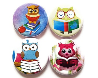 Owl Magnets, Owls, Magnets, Nerdy Owls, Wise Owls, Bookish Owls, Cute Cartoon Owls, Fridge Magnets, Kid's, Refrigerator Magnets, Set of 4