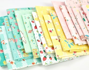 Bunnies & Blossoms - fat quarters, fat eighths, and more quilting fabric bundles - from Penny Rose Fabrics - 18 prints, 100% cotton